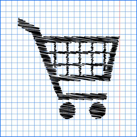 Shopping cart icons signs for online purchases - vector with pen effect on paper. Illustration