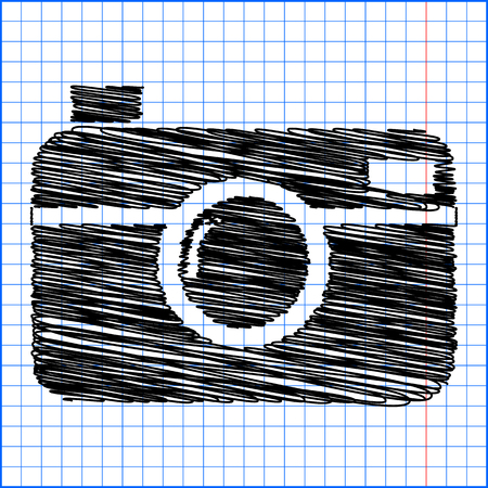 whim: digital photo camera icon with pen effect on paper. Illustration