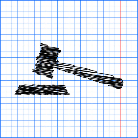 arbitrate: Justice hammer vector icon with pen effect on paper.