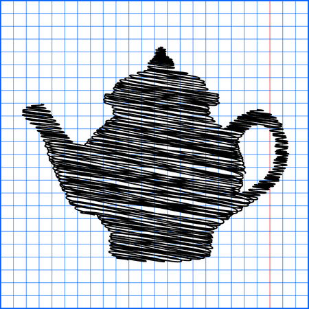 chinese tea pot: Tea maker. Vector illustration with pen effect on paper. Illustration