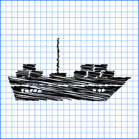sea tanker ship: Ship icon with pen effect on paper.