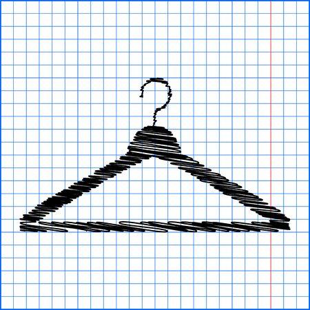 paper hanger: Hanger - Vector icon with pen effect on paper.