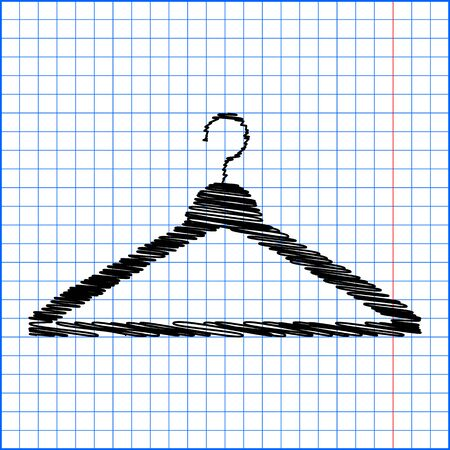 Hanger - Vector icon with pen effect on paper.