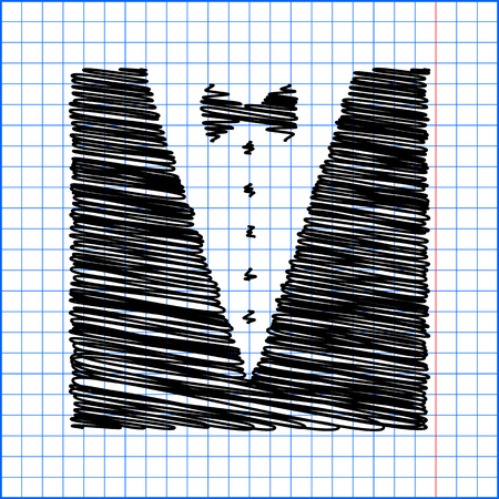 formalwear: Tuxedo with bow silhouette. Vector illustration with pen effect on paper.