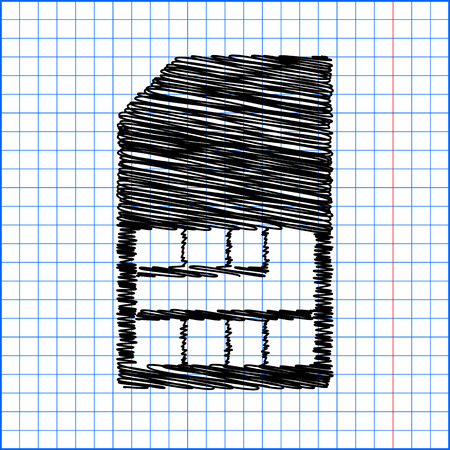 prepaid: Sim card icon with pen effect on paper. Illustration