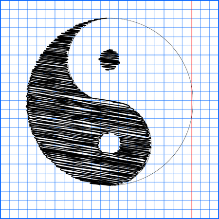 ying yan: Ying yang symbol of harmony and balance with pen effect on paper.