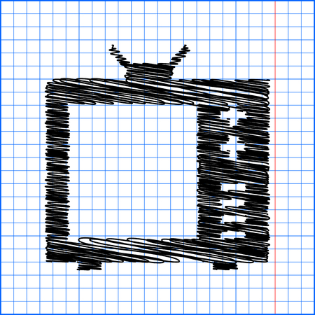 tvset: TV vector icon with pen effect on paper. Illustration