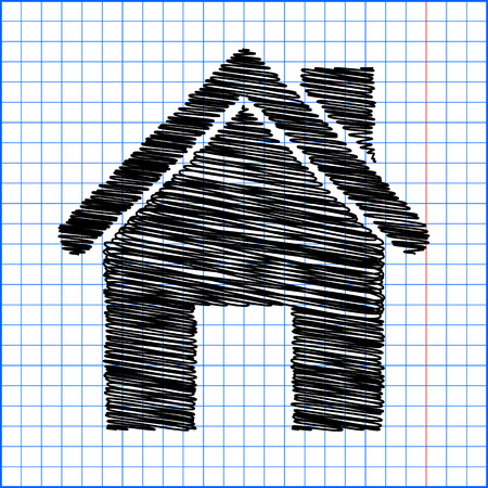 background house: Home icon with pen effect on paper. Illustration