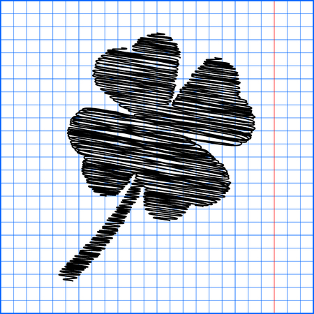 17th: Clover leaf icon with pen effect on paper.