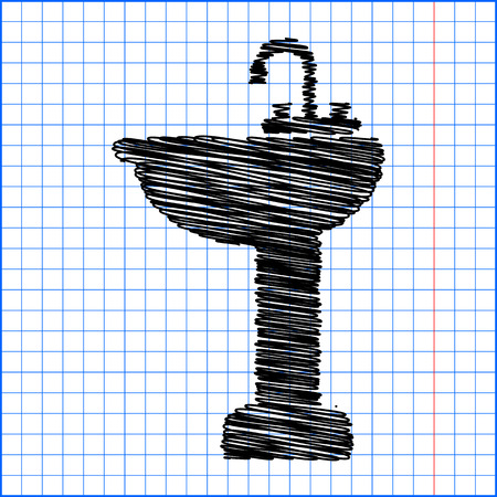 necessity: bathroom sink with pen effect on paper.