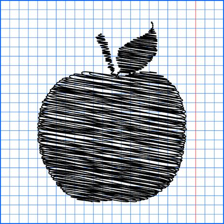 watercolor pen: Apple. Vector icon. Watercolor effect with pen effect on paper. Illustration