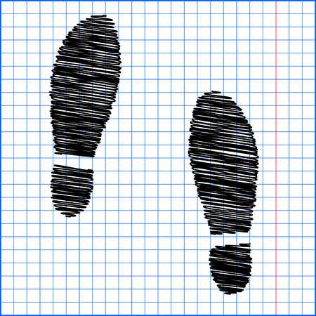 imprint: Imprint soles shoes icon with pen effect on paper.