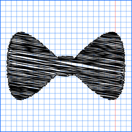black bow: Vector Black Bow Tie icon with pen effect on paper. Illustration