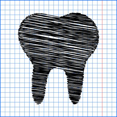 toothcare: Tooth Icon with pen effect on paper.