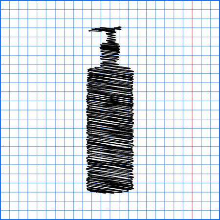 silhuette: Gel, Foam Or Liquid Soap Dispenser Pump Plastic Bottle silhuette with pen effect on paper. Illustration