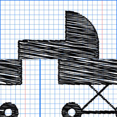 pram: Pram vector icon with pen effect on paper.