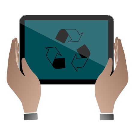 using laptop: Hands hold and touch tablet PC on vhite background, vector illustration Illustration