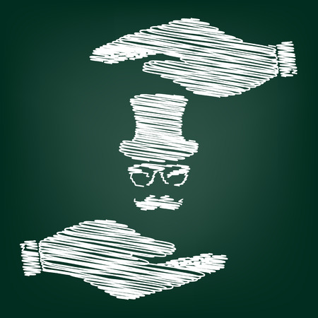 gent: Hipster style accessories design. Flat style icon with scribble effect