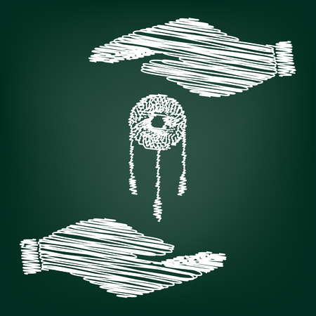 swelled: Dream catcher sign. Flat style icon with scribble effect Illustration