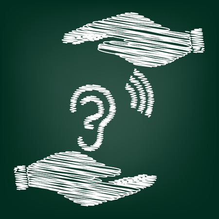 listener: Human ear sign. Flat style icon with scribble effect