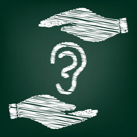 audible: Human ear sign. Flat style icon with scribble effect