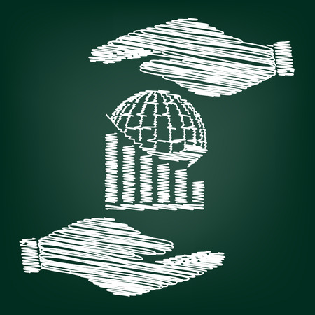 stock market crash: Declining graph  with earth. Flat style icon with scribble effect Illustration