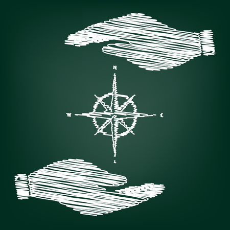 rosa vientos: El viento se levantó signo. icono de estilo plano, con efecto del garabato