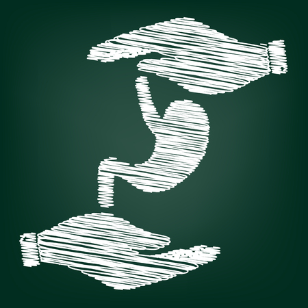 colonoscopy: Human anatomy. Stomach sign. Flat style icon with scribble effect Illustration