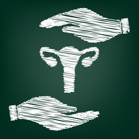testiculos: Anatomía del cuerpo humano. signo útero. icono de estilo plano, con efecto del garabato