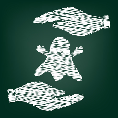 poltergeist: Ghost isolated sign. Flat style icon with scribble effect