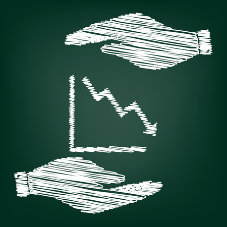 downwards: Arrow pointing downwards showing crisis. Flat style icon with scribble effect Illustration