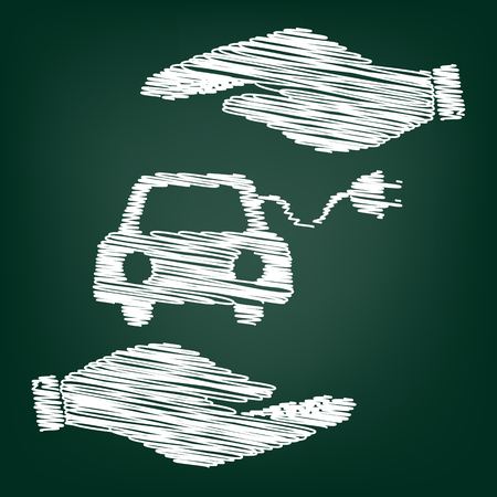 echnology: Eco electrocar sign. Flat style icon with scribble effect