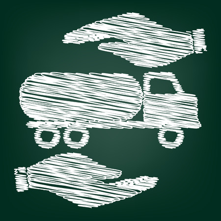 fabrication: Car transports sign. Flat style icon with scribble effect Illustration
