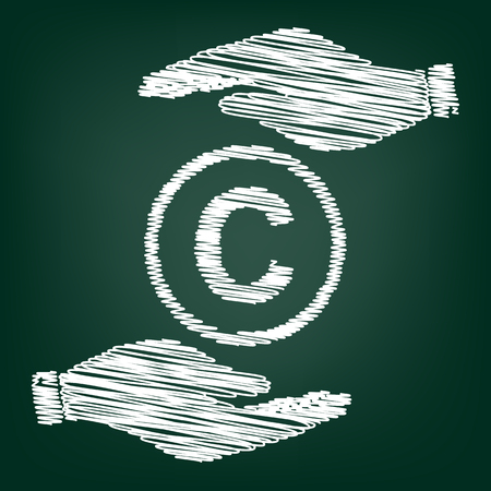 duplication: Copyright sign. Flat style icon with scribble effect