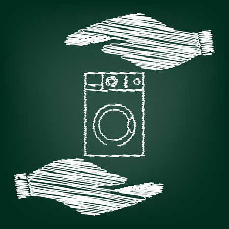 major household appliance: Washing machine sign. Flat style icon with scribble effect Illustration
