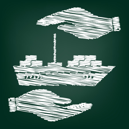 marine industry: Ship sign. Flat style icon with scribble effect