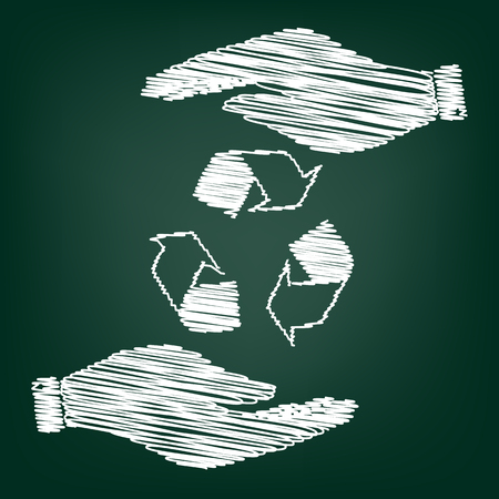 recyclable waste: Recycle logo concept. Flat style icon with scribble effect