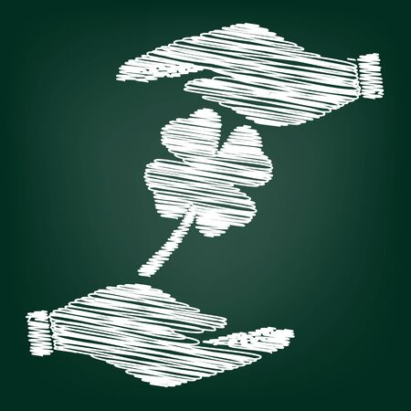 irish culture: Leaf clover sign. Flat style icon with scribble effect Illustration