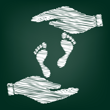 alibi: Foot prints sign. Flat style icon with scribble effect