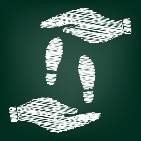 imprint: Imprint soles shoes sign. Flat style icon with scribble effect