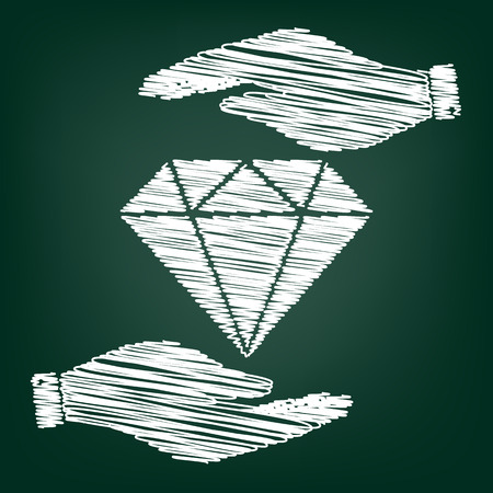 spoil: Diamond sign. Flat style icon with scribble effect