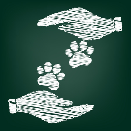 animal tracks: Animal Tracks sign. Flat style icon with scribble effect