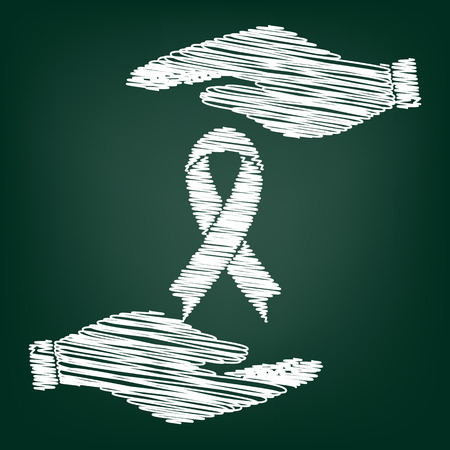 substance abuse awareness: Black awareness ribbon sign. Flat style icon with scribble effect