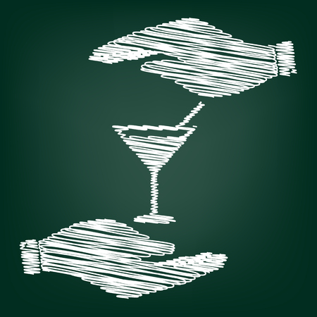 coctail: Coctail sign. Flat style icon with scribble effect Illustration
