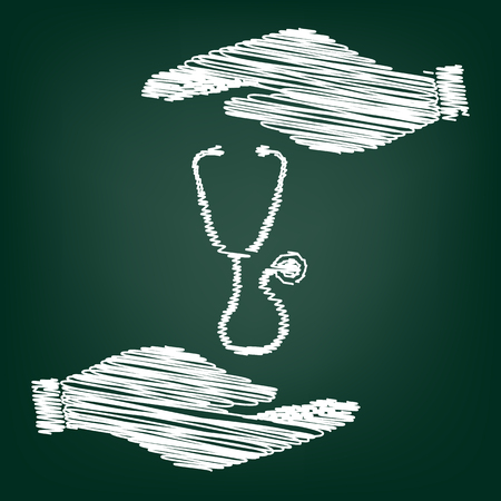 io: Stethoscope sign. Flat style icon with scribble effect