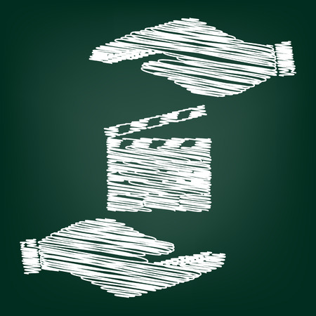 clap board: Film clap board cinema sign. Flat style icon with scribble effect Illustration