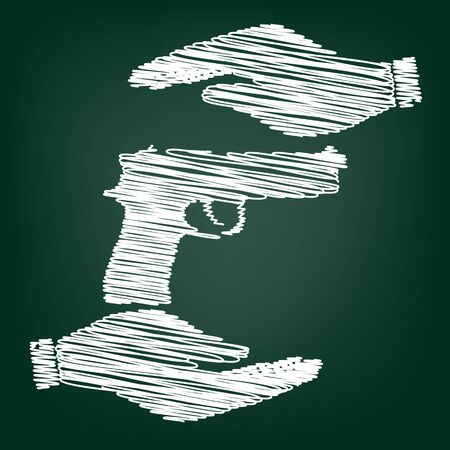 dangerous weapons: Gun sign. Flat style icon with scribble effect