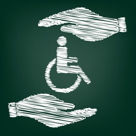disabled sign: Disabled sign. Flat style icon with scribble effect