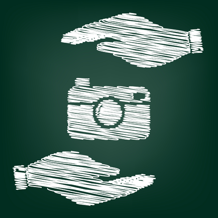 whim of fashion: Digital photo camera icon. Flat style icon with scribble effect