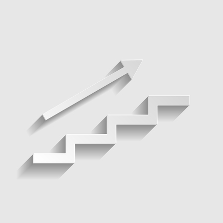 stair: Stair with arrow. Paper style icon with shadow on gray.